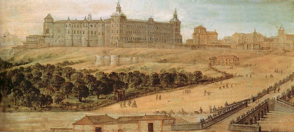 """Félix Castello .Vista del Alcázar de Madrid"""". Ha. 1630-40. (Museo Municipal de Madrid. Nº Inv- 3132)."""
