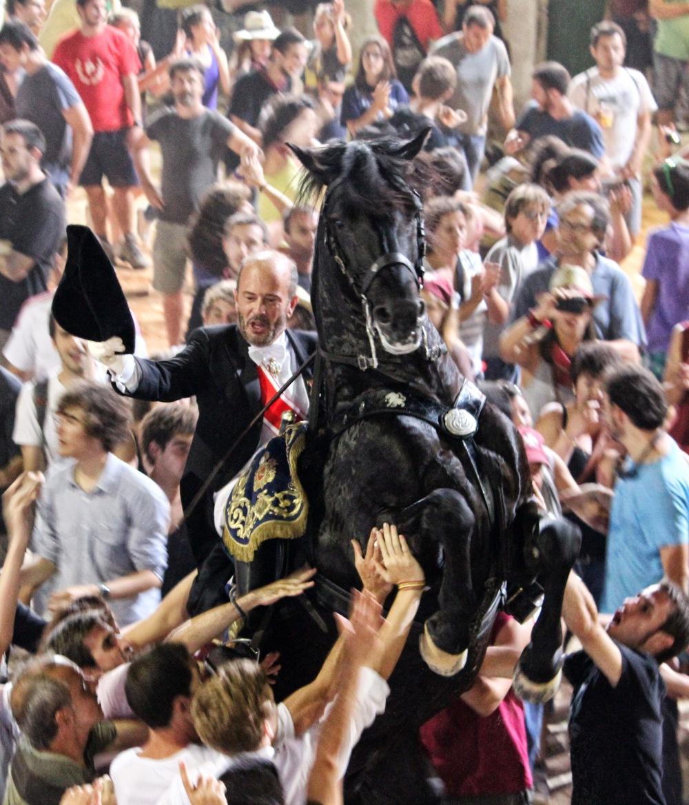 Espectacular momento de la monta de D. Luis Olivar O´Neill. Caixer Senyor. Fiestas de San Juan. Ciudadela. 2012. Foto: Juan Ferrandis.