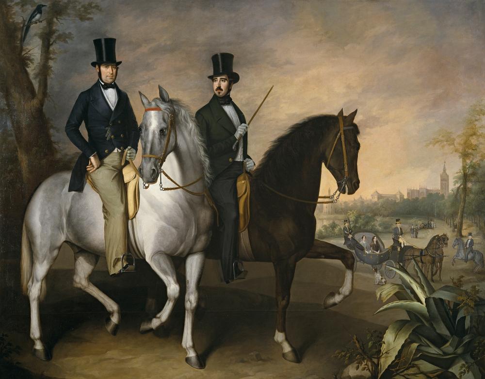 José Roldán .El conde de Pinohermoso y el marqués de Molins, a caballo, en las afueras de Sevilla. 1848. Museo del Prado.
