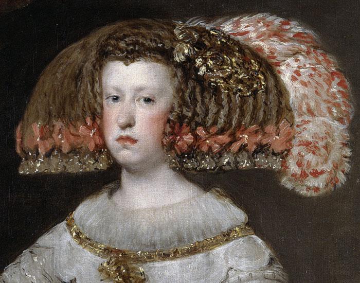 Diego Velázquez. Mariana de Austria. Detalle cabeza.Hacia 1652. Museo del Prado. Madrid.