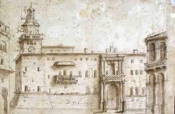 Anónimo boloñés. Vista frontal del palacio de Accursio en la Plaza Mayor de Bolonia. Primera mitad del siglo XVIII.