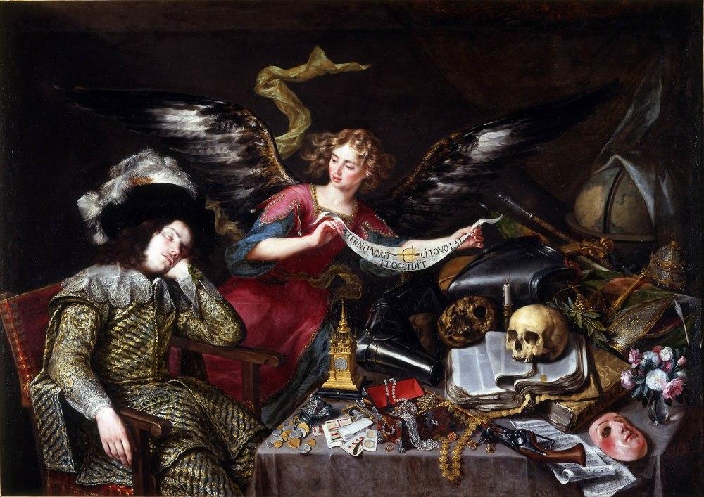 Antonio de Pereda. El sueño del caballero. 1655. Real Academia de Bellas Artes de San Fernando. Madrid.