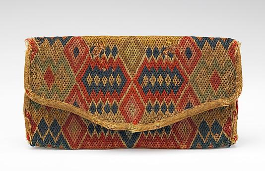 Bolso. América. Último cuarto siglo XVIII. Lana, lino y seda. Metropolitan Museum.