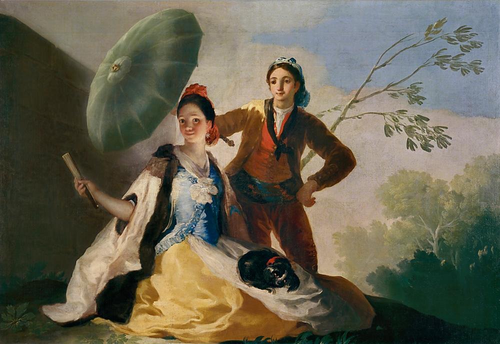 Francisco de Goya. El quitasol. 1777. Museo del Prado. Madrid. La dama va ataviada a la francesa mientras que el hombre viste de majo. La sombrilla fue un accesorio femenino inexcusable en el siglo XVIII.