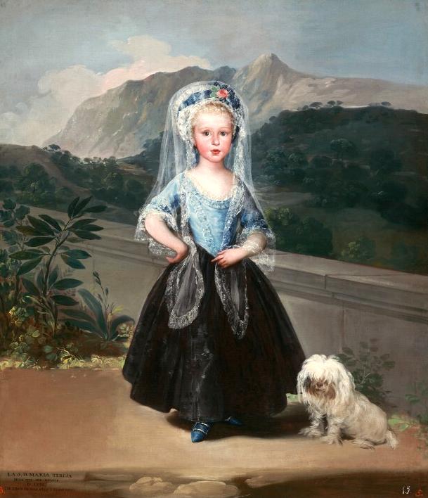 Francisco de Goya. María Teresa de Borbón y Vallabriga. 1783. National Gallery. Washington. La futura Condesa de Chinchón contaba con tres años cuando Goya la retrató luciendo una delicada mantilla de encaje blanco.