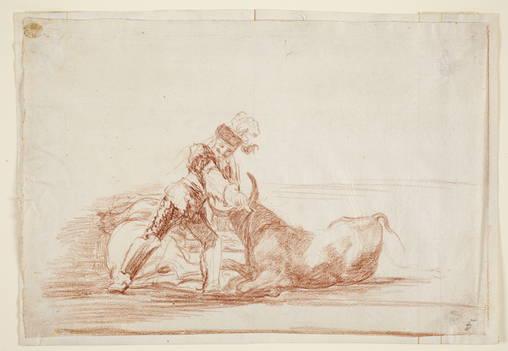 Francisco de Goya. Un caballero español mata a un toro después de matar al caballo. 1814-16. Sanguina. Museo del Prado.