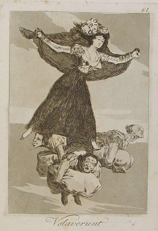 Francisco de Goya. Volaverunt. Los Caprichos. Grabado 61. 1799.La misteriosa dama que vuela aupada por las brujas lleva una mantilla negra que se ve abierta ya que ondea en el aire.
