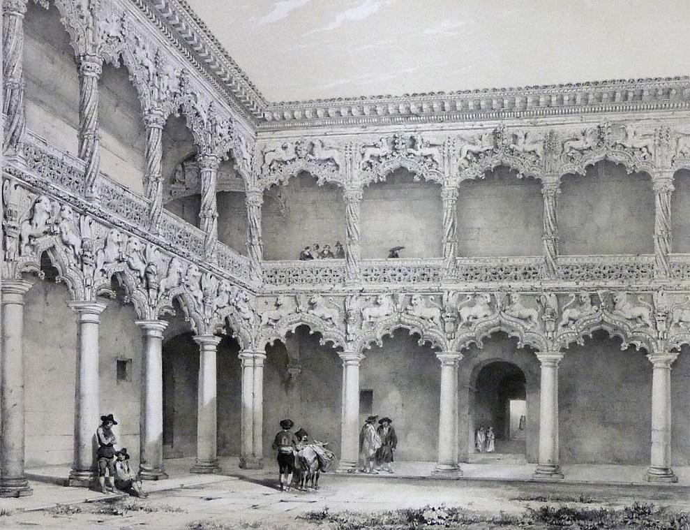 Genaro Pérez de Villamil. Patio del Palacio de los Duques del Infantado. Litografía. España Artística y Monumental. 1842.