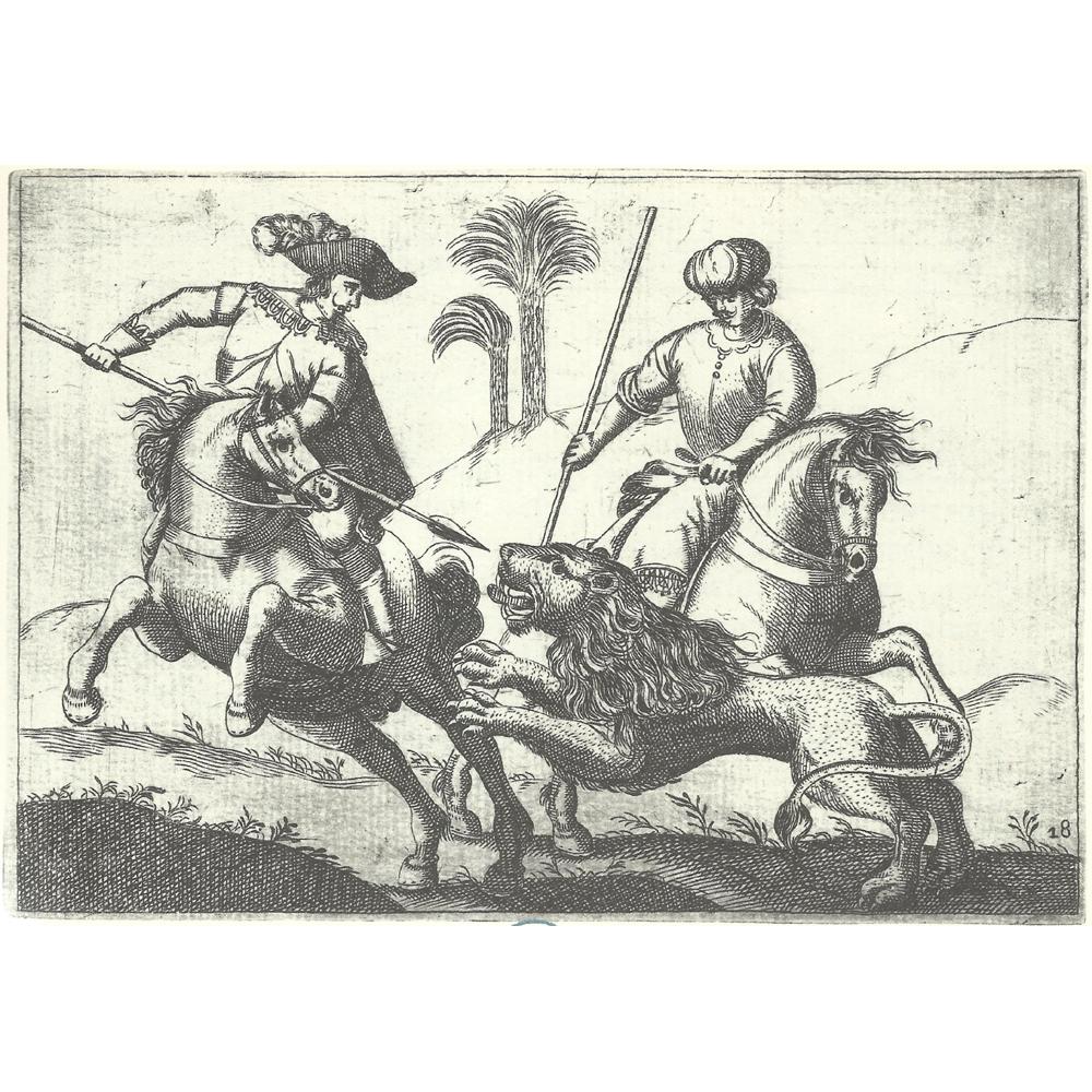 Gregorio de Tapia y Salcedo. Ejercicios de la jineta con león.