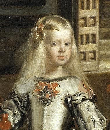 Detalle de la Infanta Margarita en el cuadro de las meninas.  Museo del Prado. Madrid.