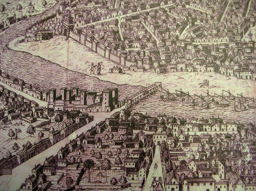 Ambrosio Brambilla. Vista de Sevilla. Detalle. Siglo XVI.