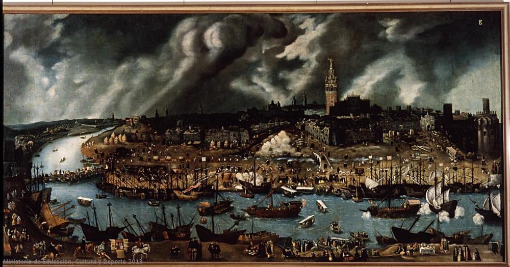 Atribuido a Alonso Sánchez Coello. Vista de Sevilla. Hacia 1570-1600. Museo de América. Madrid.
