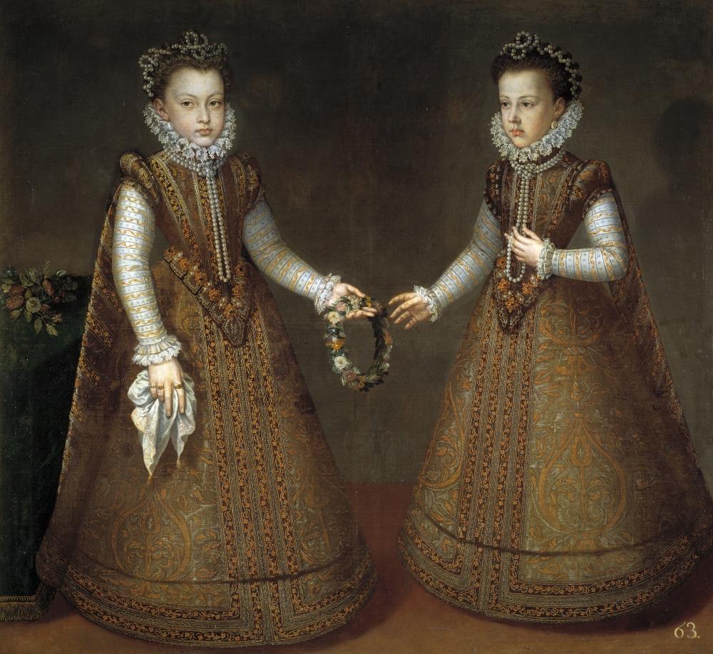 Alonso Sánchez Coello. Las infantas Isabel Clara Eugenia y Catalina Micaela. Hacia 1575.Museo del Prado.