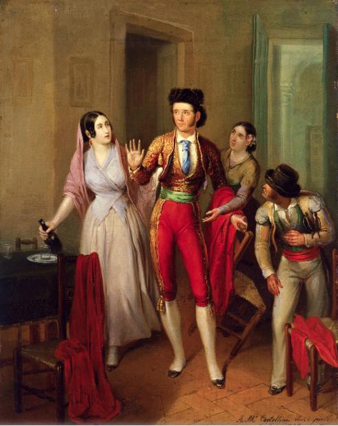 Angel María Cortellini. Francisco Montes %22Paquiro%22, antes de una corrida. La despedida del torero. 1847. Museo Carmen Thyssen. Málaga.
