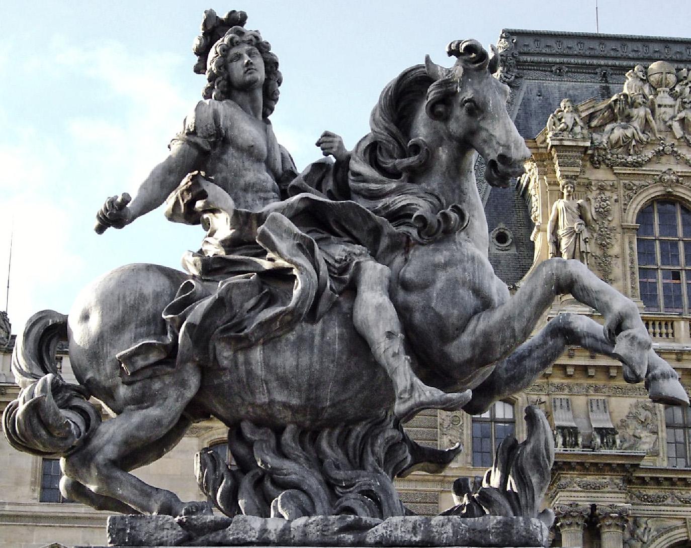 Gian Lorenzo Bernini. Estatua ecuestre de Luis XIV. 1677. Palacio de Versalles. Parece ser que al rey no le gustó demasiado la obra de Bernini, encargando al francés Girandón que realizara algunas modificaciones, convirtiéndole en Marco Curcio, un héroe romano.