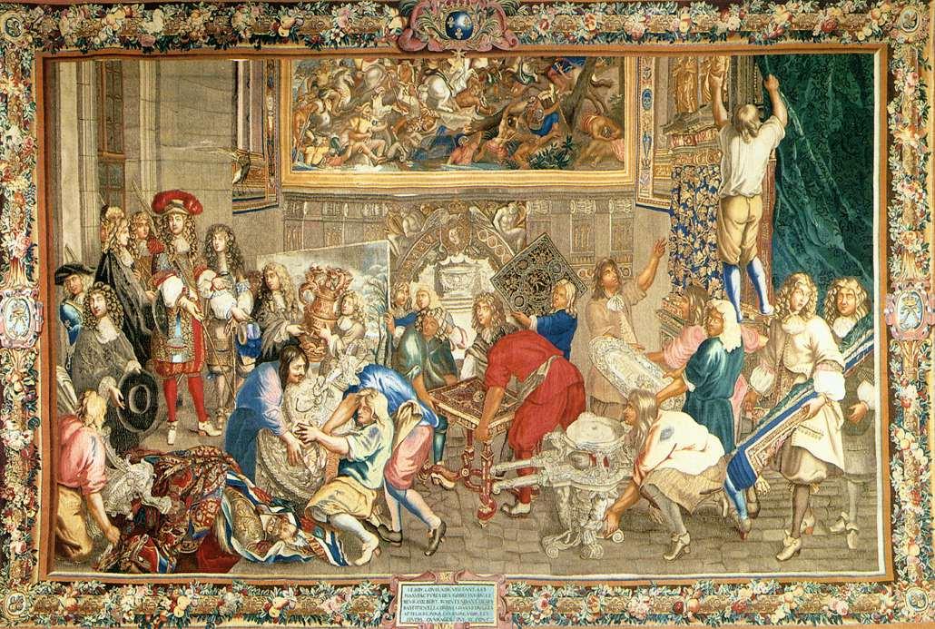Tapiz según un cartón de Charles Lebrun. Luis XIV visitando los Gobelinos. Entre 1663 y 1675. Museo de los Gobelinos. París.