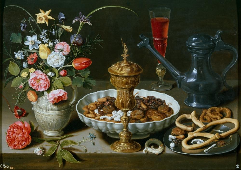 Clara Peeters. Bodegón con pasas. 1611. Museo del Prado. Madrid. Procedente de la colección de Isabel de Farnesio.