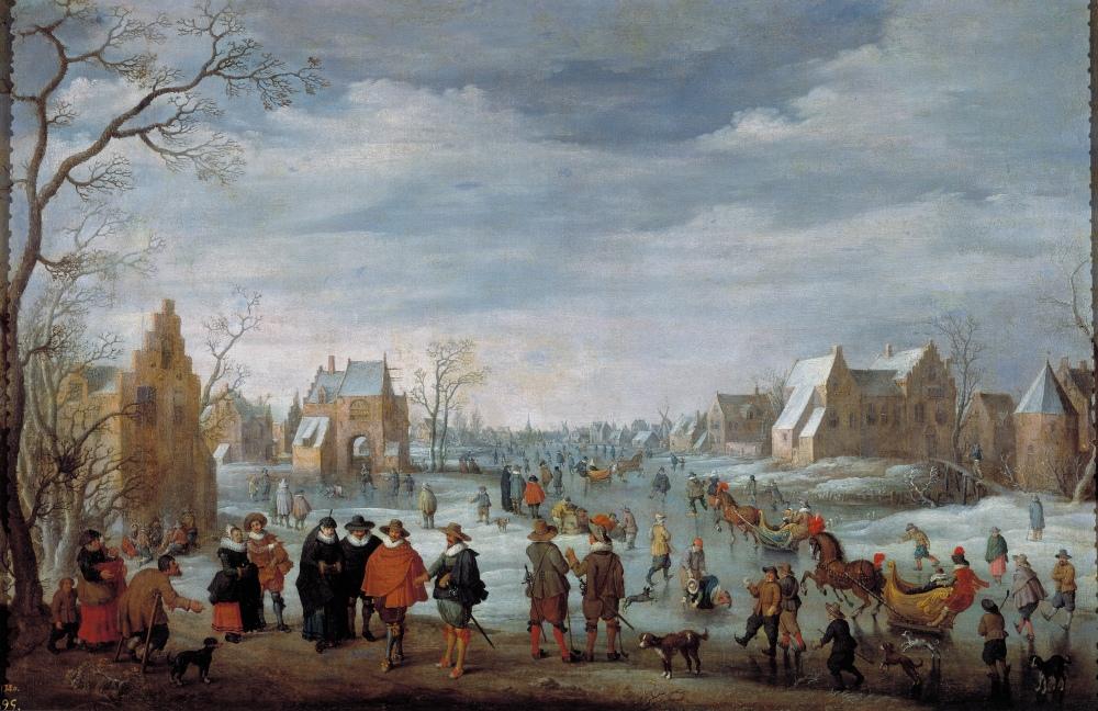 Joost Cornelisz Droohstoot. Paisaje invernal con patinadores. 1629. Museo del Prado. Madrid.