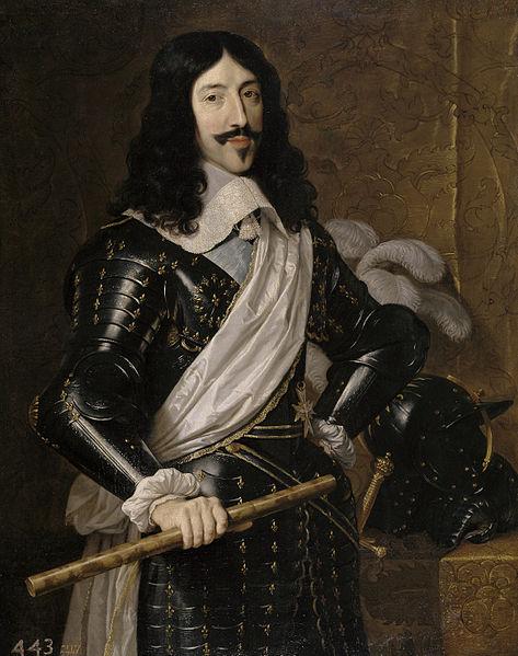 Philippe de Champaigne. Luis XIII de Francia. 1655. Museo del Prado. El rey lleva peluca y valona guarnecida de encajes.