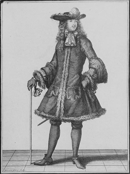 """""""Caballero en traje de invierno"""". Mercure Galant. 1692."""