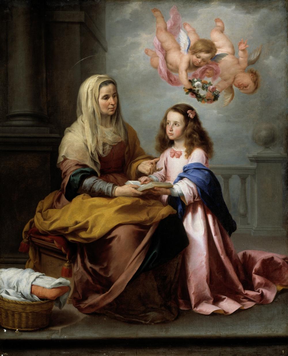 Bartolomé Esteban Murillo. Santa Ana enseñando a leer a la Virgen. Hacia 1655. Museo del Prado. Madrid.