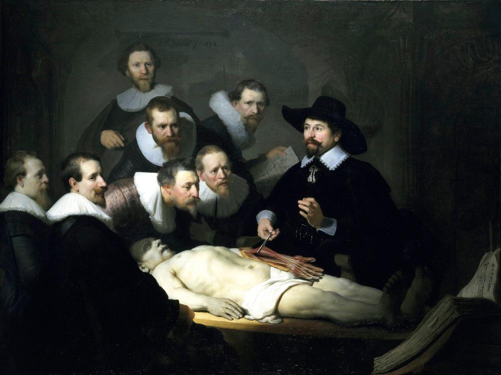 Rembrandt Van Rijn. La lección de anatomía del Dr. Nicolaes Tulp. 1635. Maurithuis. La Haya. Holanda. La genial obra del maestro holandés nos permite comprobar como todos los caballeros menos uno usan gorguera. Visten de negro a la usanza española.