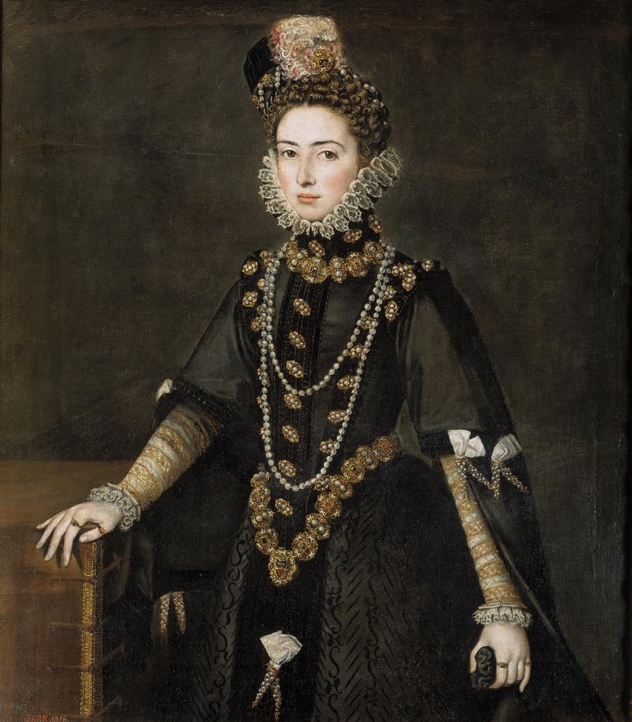 """Alonso Sánchez Coello. La infanta Catalina Micaela, duquesa de Saboya. Hacia 1584-1585. Museo del Prado. La bella hija de Felipe II luce sayo alto con mangas redondas adornadas con """"puntas"""" (cintas rematadas por cabos de metal)."""
