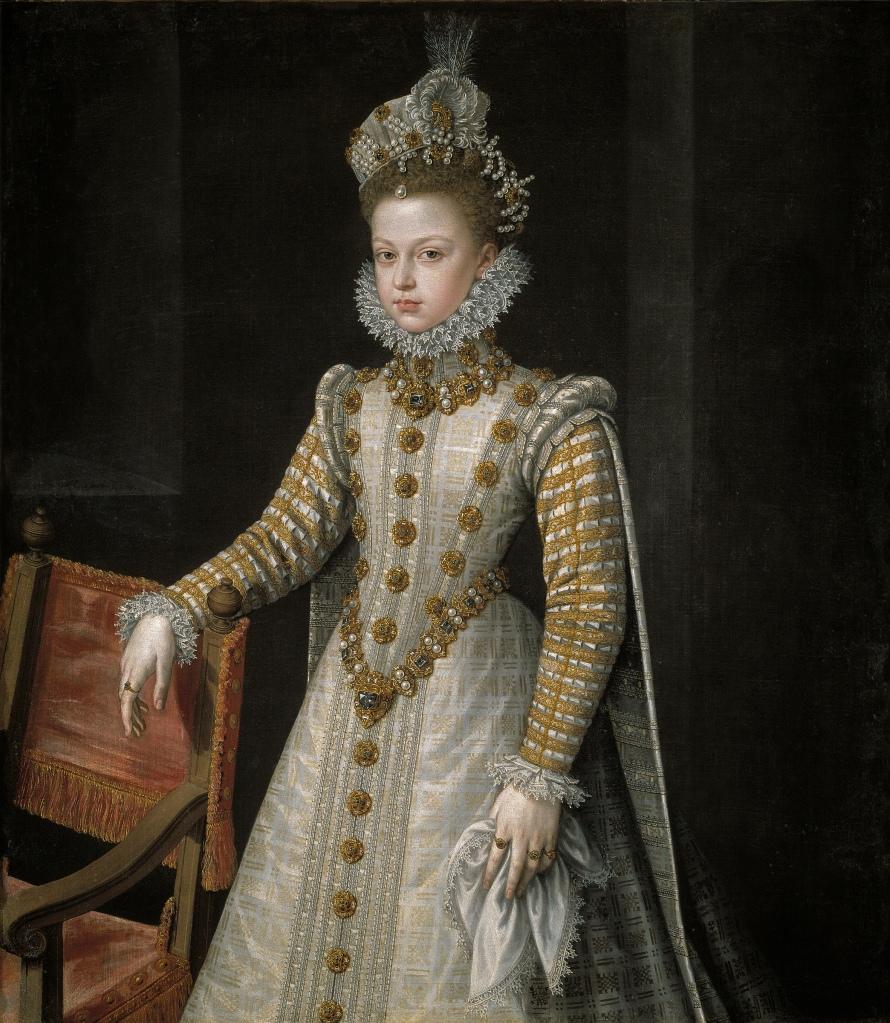 Alonso Sánchez Coello. La infanta Isabel Clara Eugenia. 1579. Museo del Prado. La infanta, de trece años de edad, lleva saya entera y mangas en punta.