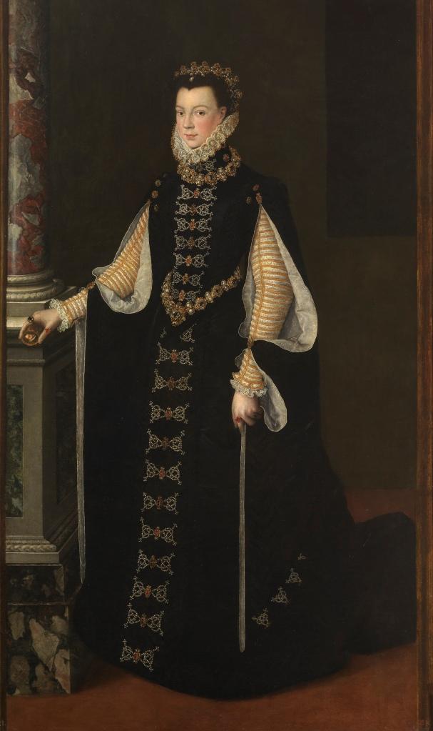 Sofonisba Anguissola (Atribuido a). Isabel de Valois sosteniendo un retrato de Felipe II. Hacia 1561-1565. Museo del Prado. La reina aparece apoyada en una columna, uno de los elementos típicos del retrato cortesano.