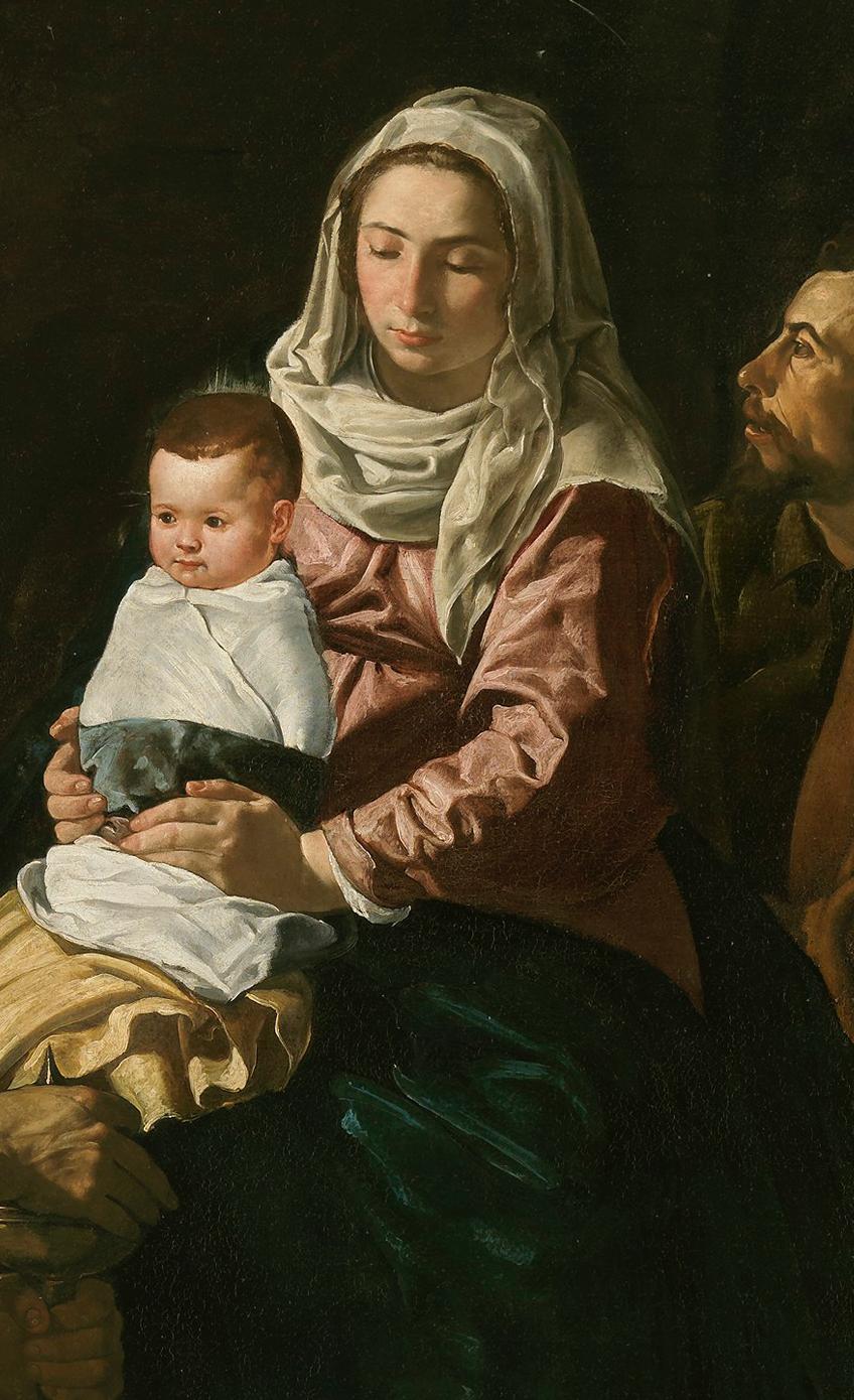 Diego Velázquez. La Adoración de los Magos. 1619. Museo del Prado. Vemos como el Niño aparece completamente fajado sobre el regazo de la Virgen. A partir del siglo XIV el rey Baltasar se representa negro.