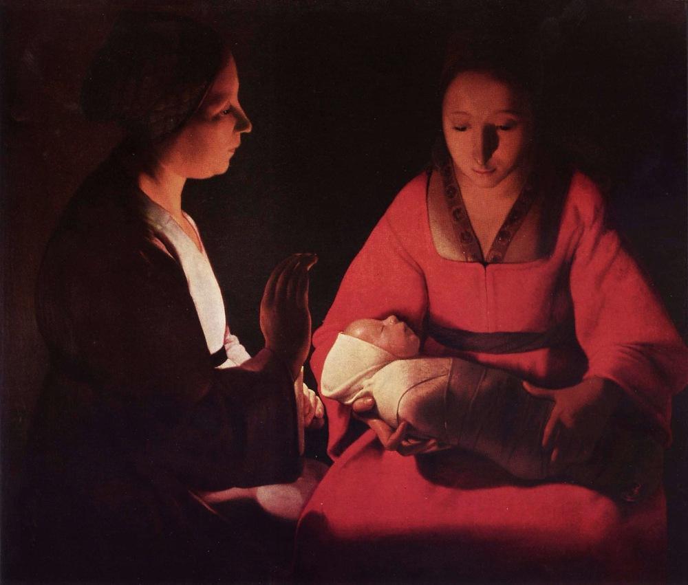 Georges de la Tour. El recién nacido. Hacia 1645-1648. Museo de Bellas Artes. Rennes. Francia. La preciosa escena, que tal vez sea una Natividad, nos muestra a al bebé perfectamente fajado y dormido en brazos de su madre.