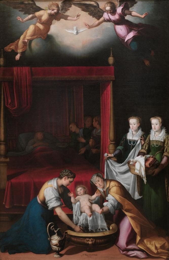 Juan Pantoja de la Cruz. El Nacimiento de la Virgen.  1603. Museo del Prado. La Virgen María bajo un precioso paño guarnecido de encaje va a ser lavada. La sirvienta (a la derecha) lleva cuerpo muy escotado sobre la camisa. Las tres damas que miran al espectador  van vestidas al modo cortesano.