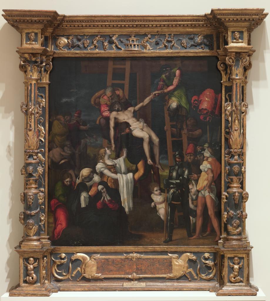 Pedro Machuca. Descendimiento de la Cruz. 1547. Museo del Prado. María Magdalena, que eleva sus brazos hacia el cuerpo de Cristo, lleva jubón escotado.