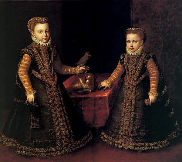 Sofonisba Anguisola. Infantas Isabel Clara Eugenia y Catalina Micaela. Buckingham Palace. Londres.