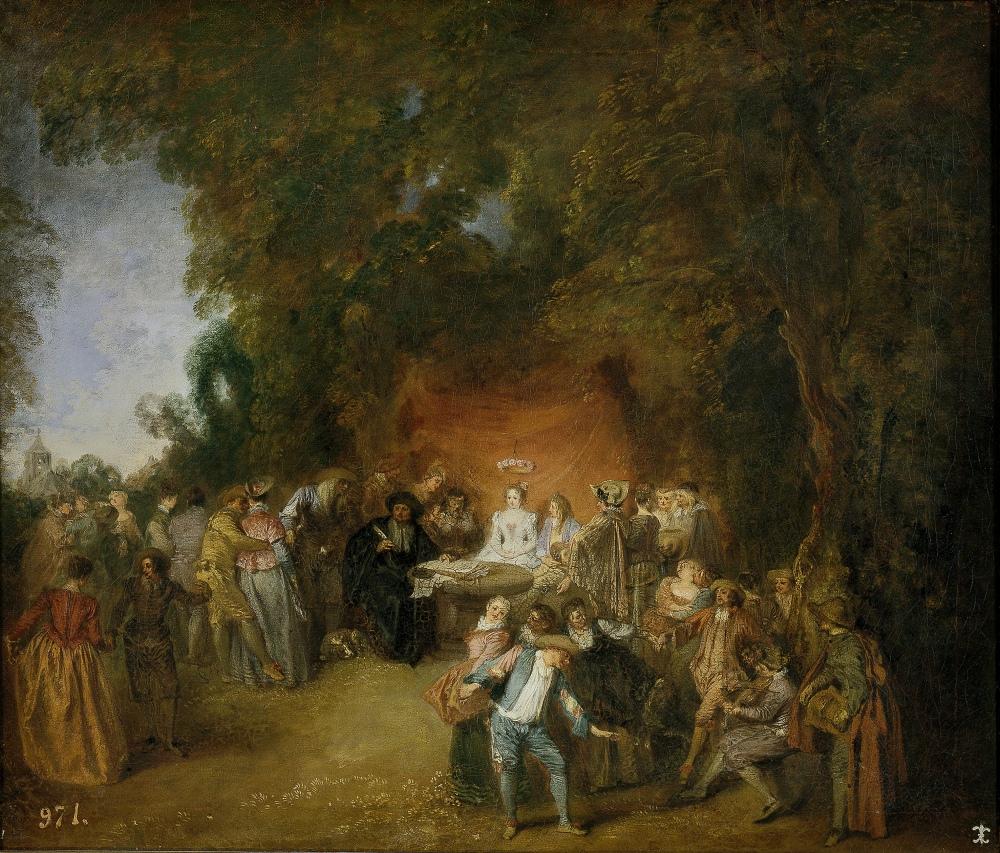 Antoine Watteau. Capitulaciones de boda y baile campestre. Hacia 1711. Museo del Prado.