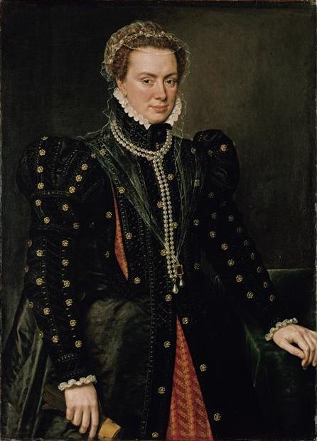 Antonio Moro. Margarita de Parma. 1562. Gemäldegalerie. Berlín. La hija mayor del emperador fue nombrada Gobernadora en los Países Bajos en 1559. Contrajo matrimonio con el duque de Parma y fue madre del famoso Alejandro Farnesio.