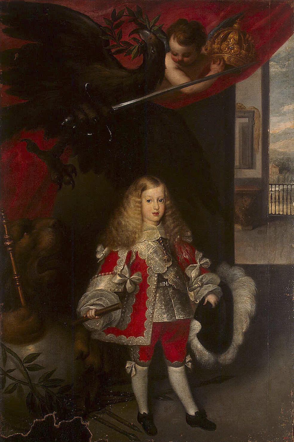 Sebastián Herrera Barnuevo. Carlos II. Hacia 1670. Museo del Hermitage. San Petesburgo. El rey aparece viste un alegre traje rojo con corbata a la manera francesa.
