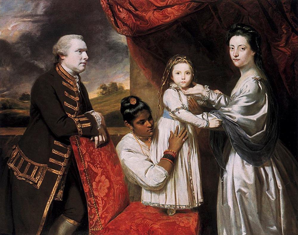 Sir Joshua Reynols. El señor Clive y su familia con una sirvienta negra. 1765. Gemäldegalerie. Berlín.