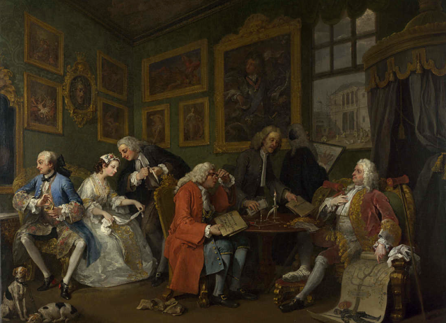 William Hogart. Matrimonio a la boda. El contrato de boda. Hacia 1743-1745. National Gallery. Londres.