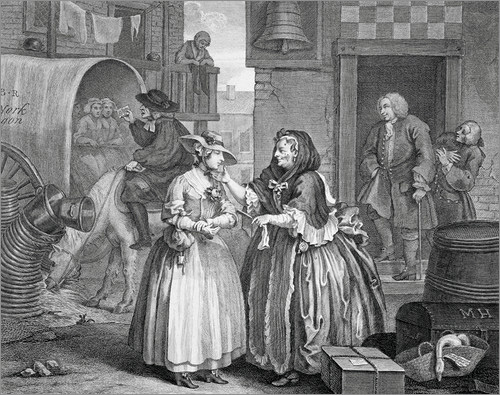 William Hogarth. A Harlot´s Progress. Plancha 1de 6. 1731