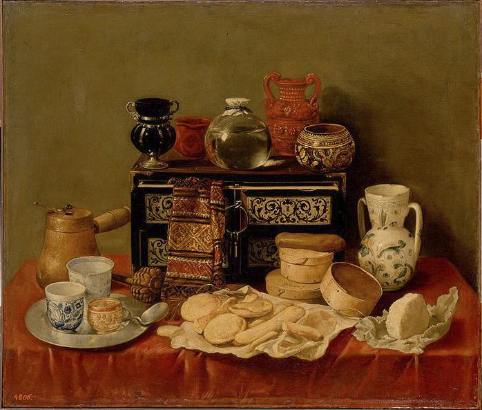 Antonio de Pereda. Bodegón. 1652. Museo del Hermitage. San Petersburgo. Sobre la mesa con distintos recipientes y alimentos aparece un precioso escritorillo de ébano y marfil.