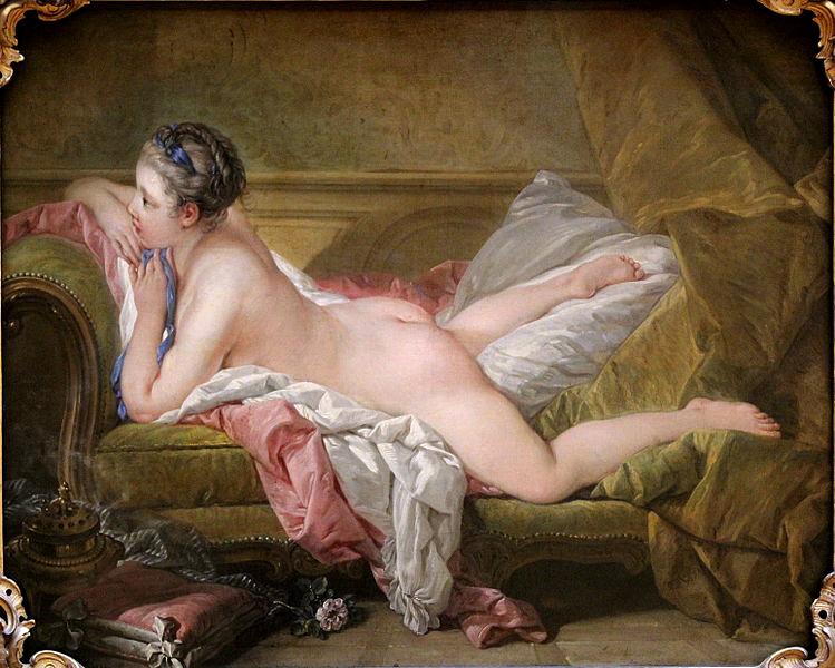 Boucher. Muchacha tumbada. 1752. Alte Pinakothek. Munich. La joven, probable amante de Luis XV, está echada sobre una chaisse longue, tipología de asiento surgida en el siglo XVIII.