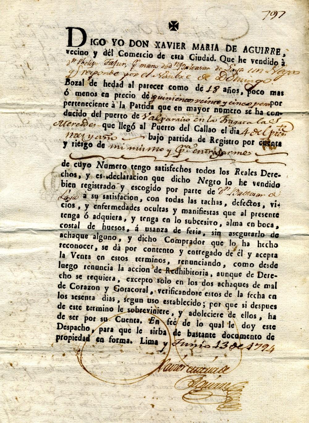 Contrato esclavista de un hombre de 18 años. 1794. Lima. Perú.