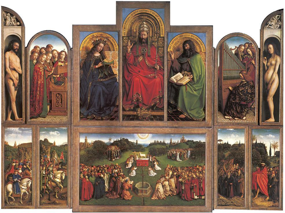 Jan y Hubert Van Eyck. Retablo de la Adoración del Cordero Místico. 1432. Catedral de San Bavón. Gante.