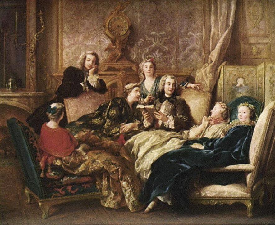 Jean-Francois de Troy. La lectura de Molière. Cerca de 1728. Colección marquesa de Cholmondeley. Houghton. EEUU.