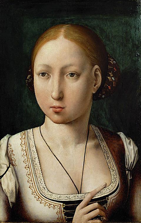 Juan de Flandes. Juana la Loca. Hacia 1496-1500. Kunsthistorisches Museum. Viena. Doña Juana luce amplio escote, de moda en la corte flamenca de su tiempo.