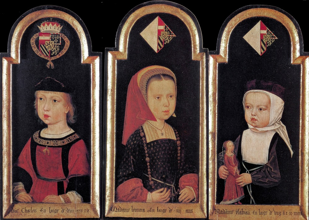 Maestro de Georgsgilde. El archiduque Carlos con sus hermanas Leonor e Isabel. 1502. Kunsthistorisches Museum. Viena.