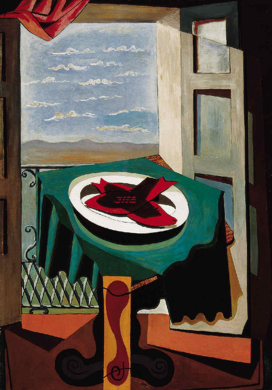 Manuel Ángeles Ortiz. Balcón abierto y plato con pescados. 1924.