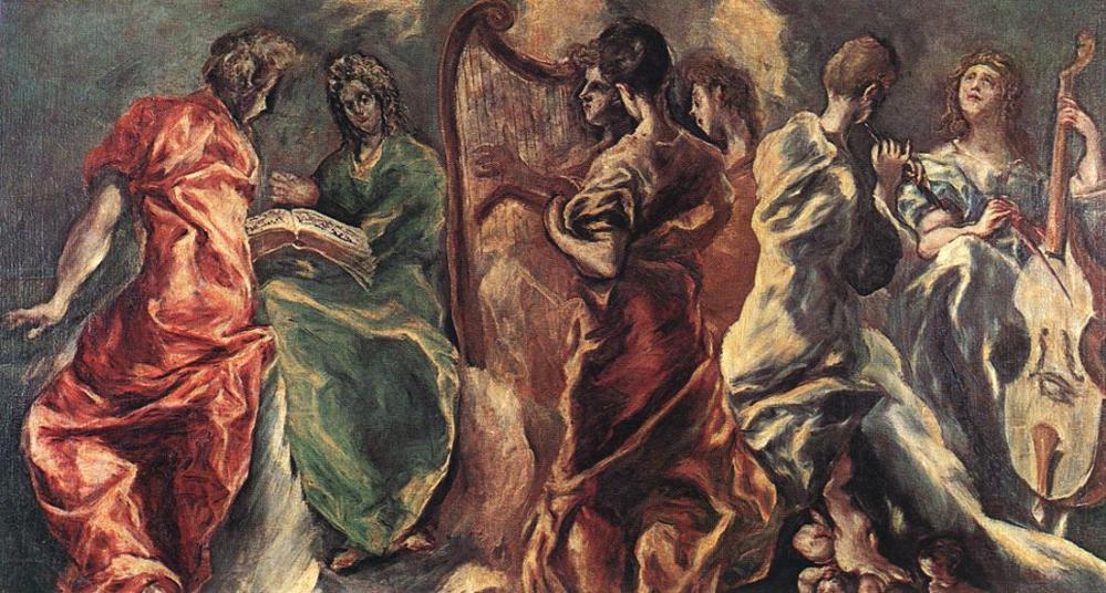 Doménikos Theotokópoulos, el Greco. Concierto de angeles. 1608. Pinacoteca Nacional. Atenas.
