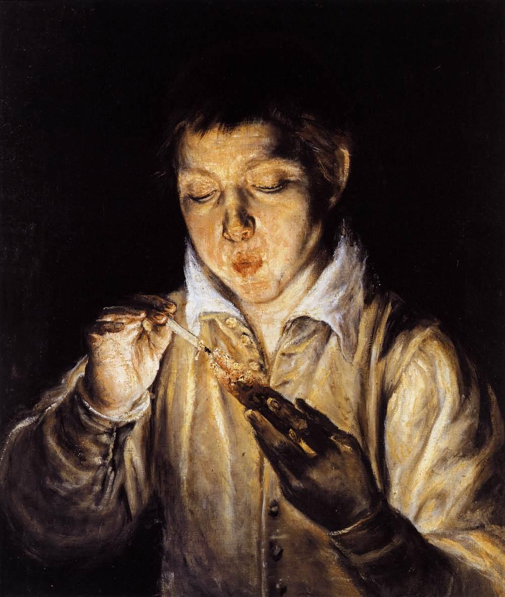 Doménikos Theotokópulos, el Greco. El soplón 1570. Museo de Capodimonte. Nápoles.